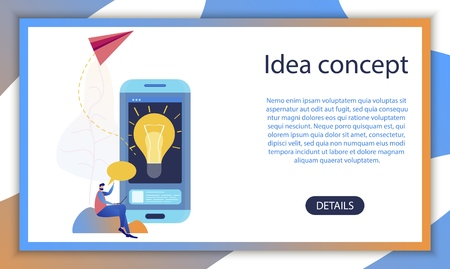 Business Creative Startup Idea Mobile App Concept. Social Media Network Technology Online Research Application. Man Character Communication Data Banner Flat Cartoon Vector Illustration
