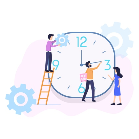 Time Optimization help Planning, Control Human Work. People make Change Setting in Main Clock Timeline. Woman Lead Organization TeamWork Management Process. Flat Cartoon Vector Illustration