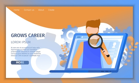 Man Character Search Social Media Resume Profile. Internet Online Recruitment on Laptop. Hr Person Analysis Candidate Presentation with Magnifier Banner Flat Cartoon Vector Character Illustration