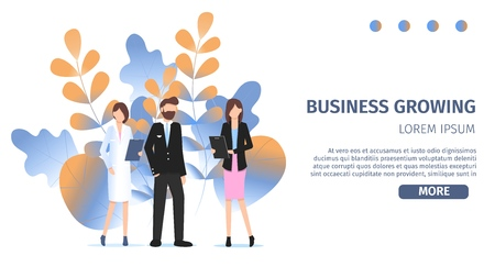 Different Business Character Career Choice Option. Business Growing Profession Avatar. Professional Manager Woman, Female Doctor and Pilot Man Pose for Job Fair Banner Flat Cartoon Vector Illustration