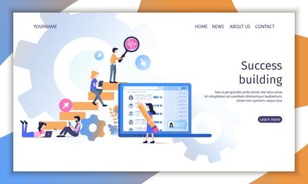 Career Success Building Teamwork Conceptual Ladder. Business Worker Finance Growth Idea. Creative Man and Woman Reaching Financial Profit Banner Flat Cartoon Vector Character Illustration