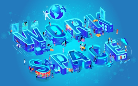 Workspace City Letters Small People Live Work Happy. Digital Isometric Vector Illustration Cloud System. Astronaut and Satellite Fly Around Planet. Girl Archery Online Education Extra Reality Glasses Ilustração