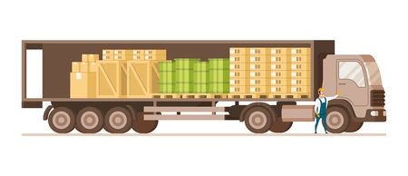Open Fast Delivery Load Truck Full of Cargo Goods. Side View of Van with Cardboard and Wooden Box. Factory Worker Character in Uniform Standing Infront. Flat Cartoon Vector Illustration