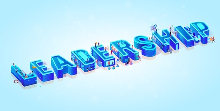 Vector 3d Neon Isometric Word Leadership on Light Blue Gradient Background. Tiny People Moving Among Big Letters, Use New Tech, Data Server and Devices in Life for Shopping, Online Education, Work.