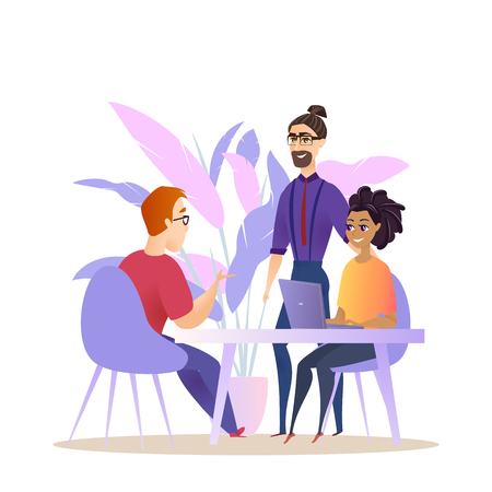 Business People Group Brainstorm Conversation. Man Woman Character Corporate Employee have Teamwork Creative Meeting. Project Collaboration Concept Flat Cartoon Vector Illustration Ilustrace
