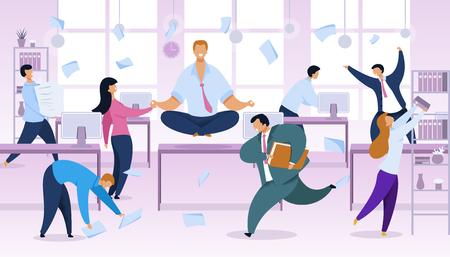 Rush de trabajo, Ilustración de Vector de rutina de oficina. Hombre de negocios en posición de loto en el lugar de trabajo. Día laborable, gráfico de dibujos animados de color caos. Concepto de gestión del tiempo. Empleados ocupados y estresados quejándose Ilustración de vector