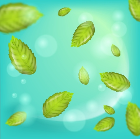 Realistic Illustration Flying Mint Leaf Vector. 3d image Fresh Mint Leaves on Green Background. Refreshing and Cool Effect Products with Addition Mint. Place for Advertising in different variations