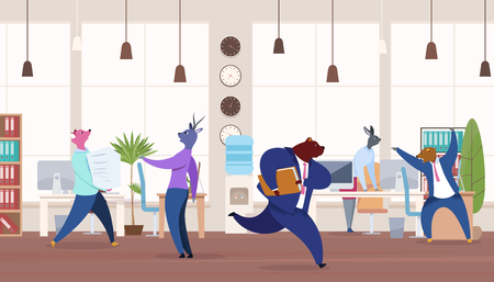 Office Workers with Animals Heads Vector Clipart. Metaphor of Workers as Lion, Bear, Fox, Rabbit, Deer. Flat Color Cartoon Businessman in Suit Hurrying up. Work Rush Concept. Busy, Stressed Employees