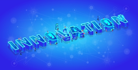 Innovation 3d Neon Isometric Word. Tiny Characters Waking Around of Huge Letters. Little Men and Women Use Smart Technology, Augmented Virtual Reality Devices and Gadjets in Life. Vector Illustration.