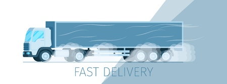 Grey Storage Delivery Truck Moving on Road Banner. Warehouse Fast Express Shipping Process. Side View of Supply Van Driving to Smoke from Under Wheel. Flat Cartoon Vector Illustration Ilustração