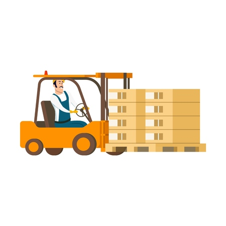 Warehouse Character Driving Forklift Car with Box. Drawing of Smiling Professional Factory Staff Engeneer Working in Storage Goods Delivery Service. Flat Cartoon Vector Illustration Ilustração