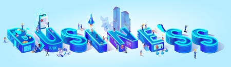 Isometric Projection of Word Business. Intelligent Smart City With Buildings and Infrastructure. Cloud Management System. Little People Walking at Huge Letters. 3d Vector Illustration, Flat Characters