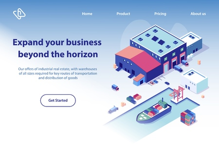 International Transport Company Isometric Vector Web Banner. Cargo Trucks near Warehouse Building, Container Ship in Port Illustration. Global Postal, Word Wide Delivery Service Landing Page Template