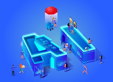 Ai 3d Neon Letters. Artificial Intelligence. Everything Begins With An Idea. Little Scientists Create Technology of Future on Computer. People Using New Tech in Life. Isometric Vector Illustration.