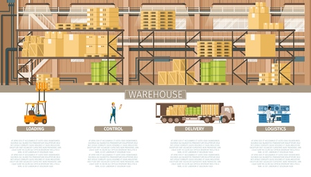 Warehouse Packing and Supply Maintenance Banner. Infographic Picture of Industrial Factory Storage Element. Control Logistic, Weight Delivery, Professional Service. Flat Cartoon Vector Illustration Ilustração