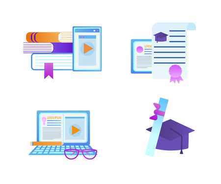 Educational Set of Icons. Textbooks with Tablet, Diploma Certificate with Seal, Laptop with Pencil and Glasses, Square Academic Cap with Scroll Isolated on White Background. Flat Vector Illustration.