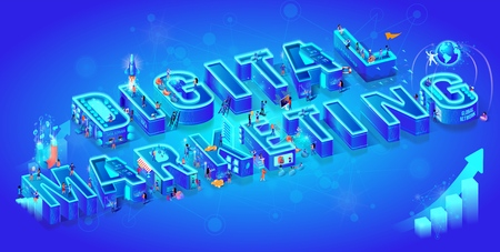 Isometric 3d Words Digital Marketing. Little People with Gadgets Use Virtual and Augmented Reality, Data Server, Global Network, Cyberspace for Life and Business in Neon City. Flat Vector Illustration