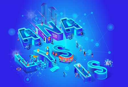 Isometric Projection Of Word Analysis. Augmented Reality for Finance Analytics. Businesspeople Analyzing Big Data. Virtual Infographics. Future Digital Services for Business. 3d Vector Illustration.