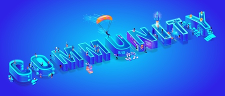 Isometric Projection of Word Community. Huge Letters on Ultramarine Neon Gradient Background. Little People Living Together in Smart High-Tech Neon City. 3d Vector illustration. Flat Characters. Illustration