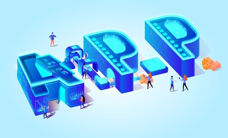 3d Neon Effect Isometric Letters APP. Blue Gradient Background. Creative Alphabet. Little People Characters Use Smartphones, Gadjet Application. Technology Goods Production. Vector Flat Illustration. Standard-Bild - 124904814