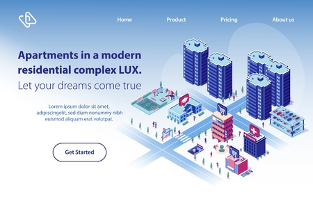 Apartments in Modern Residential Complex Isometric Vector Web Banner. City Luxury Real Estate Object with Perfect Location and Infrastructure Illustration. Construction Company Landing Page Template Ilustração