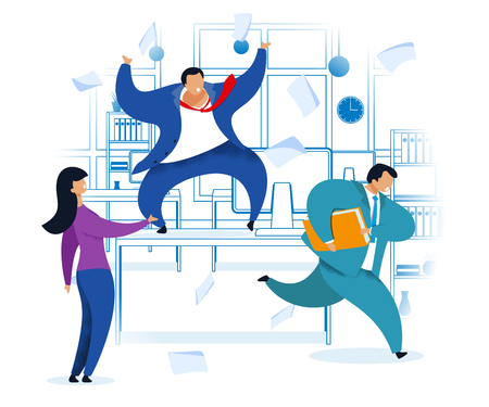 Work Rush, Office Chaos, Flat Vector Illustration. Busy Workers Fussing. Nervous Employer. Angry Boss on Desk Shouting at Employees. Job Deadline. Linear Office Interior. Businessman with Briefcase