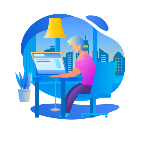 Learning Man Watch Lesson, School Homework. Student Character Study at Home Sitting at Table with Laptop. Interior and Cityscape Background. University, College Infographics. Flat Vector Illustration.