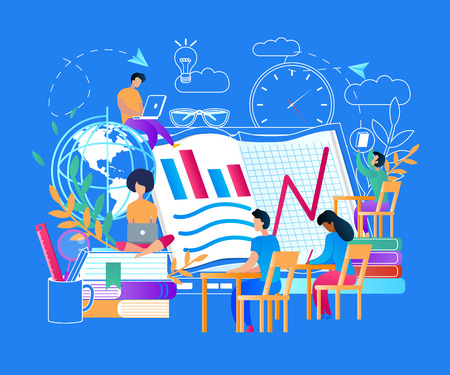 Online Education with Small People Characters Around of Computer Screen. Outline School Stuff Icons. Young Guys and Girls Collective Learning. Distance Internet Courses. Flat Vector Illustration.