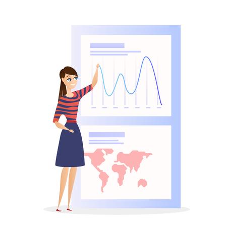 Global Data Analysis Grath Businesswoman Character. Business Woman Show Worldwide Finance Growth Chart. Digital Marketing Presentation. Banking Economic Budget Concept Flat Cartoon Illustration Ilustração