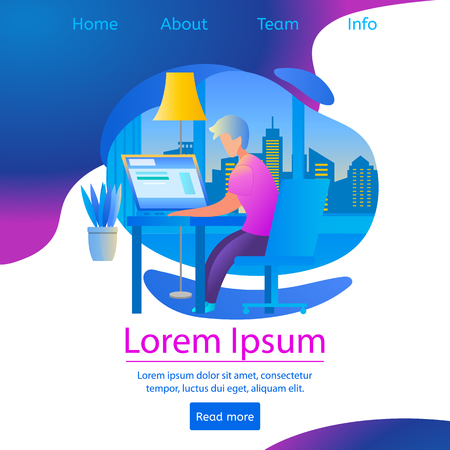 Student Learn at Home Sitting at Table with Laptop. Interior and Cityscape View on Wavy Gradient Background, Copy Space. Man Watch Webinar Lesson, E-Learning. Square Banner. Flat Vector Illustration.