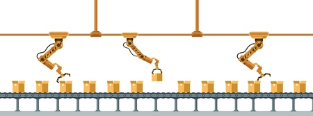 Yellow Robotic Claw Long Packing Box Conveyor. Mechanical Arm Crane Manufacture Technology. Industrial Robot Working at Warehouse Service. Storage Business. Flat Cartoon Vector Illustration Ilustração