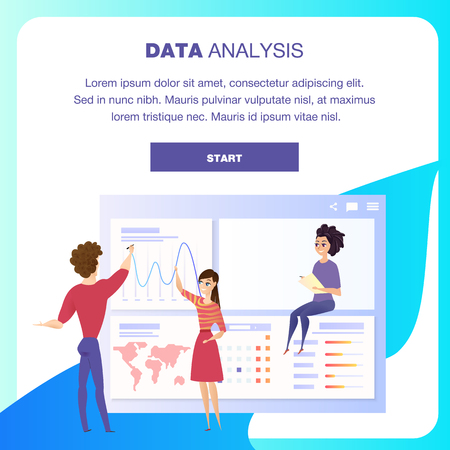 Global Data Analysis Grath Landing Page Character. Business Woman Show Worldwide Finance Growth Chart. Digital Marketing Kpi Presentation Concept for Website or Web Page. Flat Vector Illustration