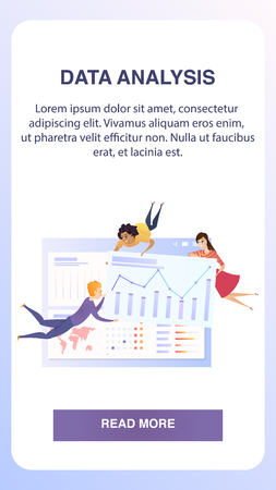 Big Business Data Statistic Grath Mobile Banner. Team Analyst Character Develop Marketing Analyzing Chart. Economic Growth Presentation Concept for Landing Web Page Flat Vector Illustration