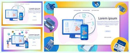 Mobile Banking, Digital Technologies for Entrepreneurs, Internet Payments Instruments Flat Vector Web Banners Set. Company Online Shopping, Customers Support Service Landing Pages Templates Collection Ilustração