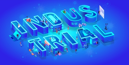 Vector 3d Neon Isometric Word Industrial on Blue Gradient Background with Neural Network. People Use Smart Technology in Life, Data Server, Cyberspace, Online Paying. Futuristic Idea. Neon City. Ilustração