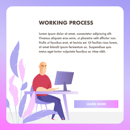 Businessman Character Working Process Web Banner. Corporate Employee Work at Table Workplace. Happy Sitting Office Man Concept for Website or Landing Page. Flat Cartoon Vector Illustration