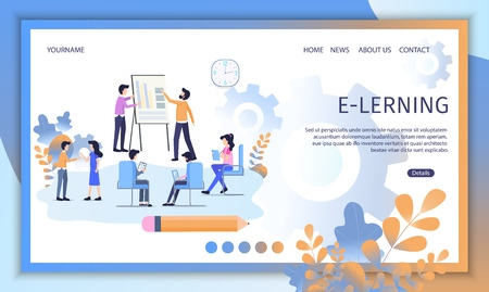 E-Learning Courses, Distant Education Service Flat Vector Web Banner. Businesspeople or Students Teaching Together, Doing Lessons in Virtual Class Illustration. Online University Landing Page Template Ilustração