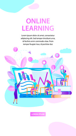 Online Learning. Woman Trainer Explain Lesson. Students Sitting at Desk and Watching at Huge Laptop Screen with Charts. Educational Stuff Icons. Vertical Banner. Copy Space. Flat Vector Illustration. Ilustração