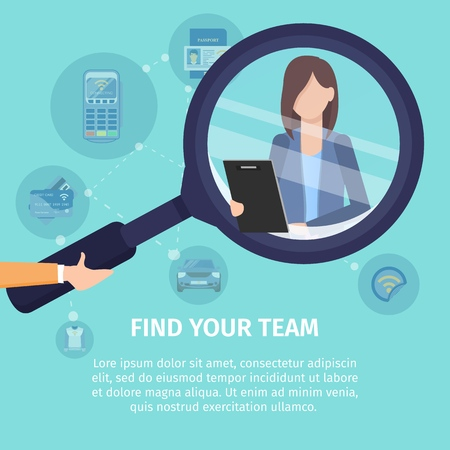 Find Your Team Flat Vector Square Advertising Banner. Recruiting Agency, Employment Service Prom Poster Template. Human Hand Holding Magnifying Glass, Magnifying Businesswoman with Tablet Illustration