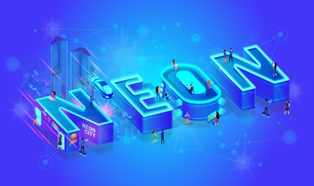 Vector 3d Isometric Word Neon Blue Ultramarine Color Effect. Little City People Walk at Big Letters And Live with Common Life Use Technology, Gadjets and Devices. Buildings, Cars, Urban Nightlife
