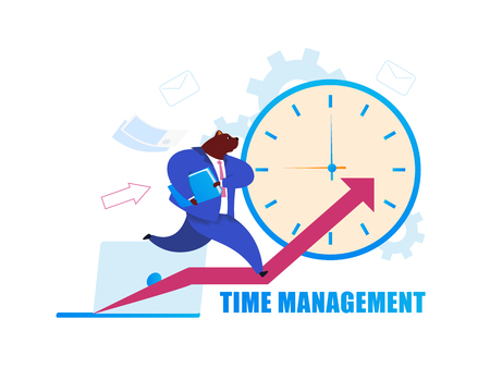 Time Management Flat Cartoon Vector Illustration. Humanised Bear in Suit Drawing with Lettering. Metaphor of Businessman as Animal. Office Worker Running on Diagram. Clock, Laptop, Graph Poster