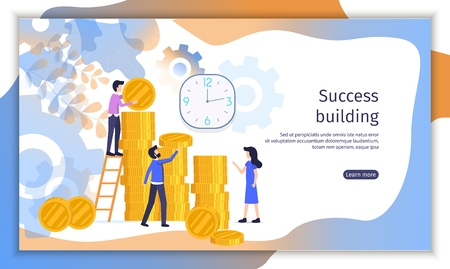 Successful Business Company, Investment Project Flat Vector Web Banner with Businesspeople Counting Money, Planning Profit, Working Together Illustration. Time Management Service Landing Page Template
