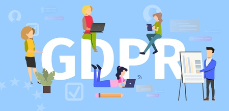 General Data Protection Regulation Flat Vector Banner. Internet Users Using Computers, Working, Making Purchases Online, Business Owner Collecting Information Illustration. Personal Data Protection