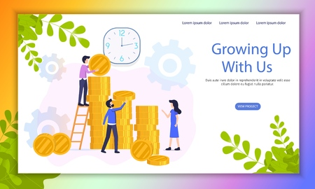 Fast Growing Business Investment Project Flat Vector Web Banner with Company Employees Working Together, Increasing Capital, Creating Wealth Illustration. Crowdfunding Campaign Landing Page Template