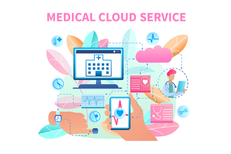 Banner Illustration Medical Cloud Service System. Vector Image Data Transfer from Patient Bracelet. Clinic Receives Patient Health Data Computer. Doctor Online Monitors Heart Person. Heart Radiogram
