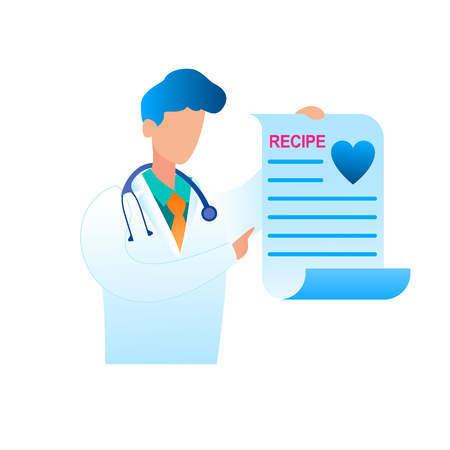 Vector Doctor Holding Prescribed Treatment Recipe. Illustration Male Pediatrician in Medical Uniform. Recipe Treating Patient Disease. Health Care System. Modern Medicine. Isolated on White Background Illustration