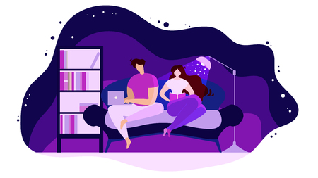 Resting at Home in Evening Flat Vector Concept Isolated on White Background. Couple Sitting on Sofa in Living Room, Woman Reading Book, Man Surfing Online with Laptop Illustration. Day off leisure