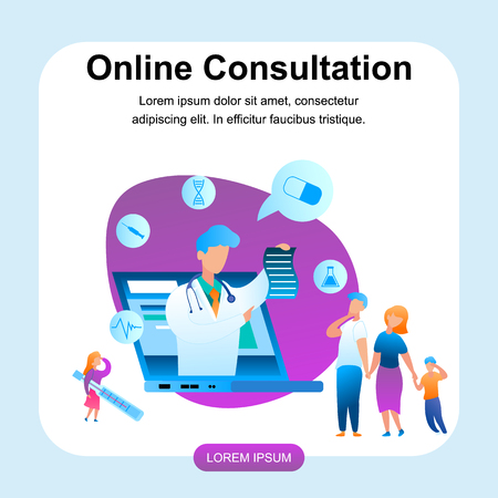 Illustration Doctor Online Consultation Treatment. Banner Vector Male Medical Specialist with Laptop Monitor Screen, Gives Prescription Treating Disease Family with Sick Child. Girl with Thermometer.