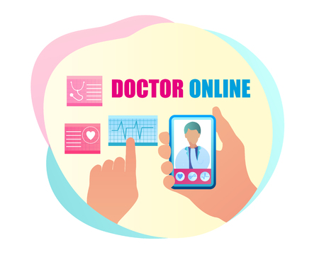 Vector Communication Doctor Online Consultation. Banner Illustration Hand Holding Mobile Phone, on Smartphone Screen Doctor Examining Cardiovascular Indicators Examination. Heart Radiogram Çizim