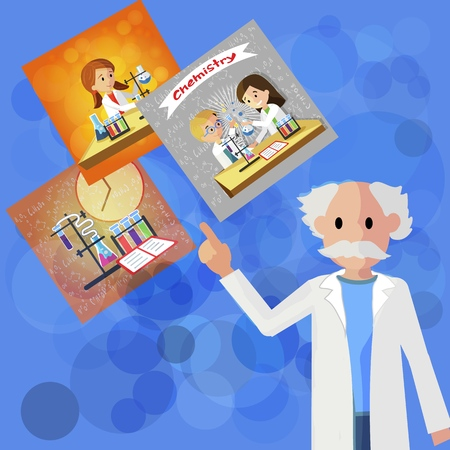 Flat Head Seminar Doctor Pedagogy in Chemistry. Vector Illustration on Blue Background. An Elderly Professor Chemistry Gray Haired Man in White Coat Shares Experience in Teaching Children.